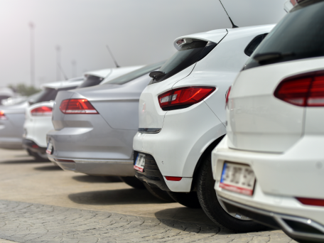 white cars in line