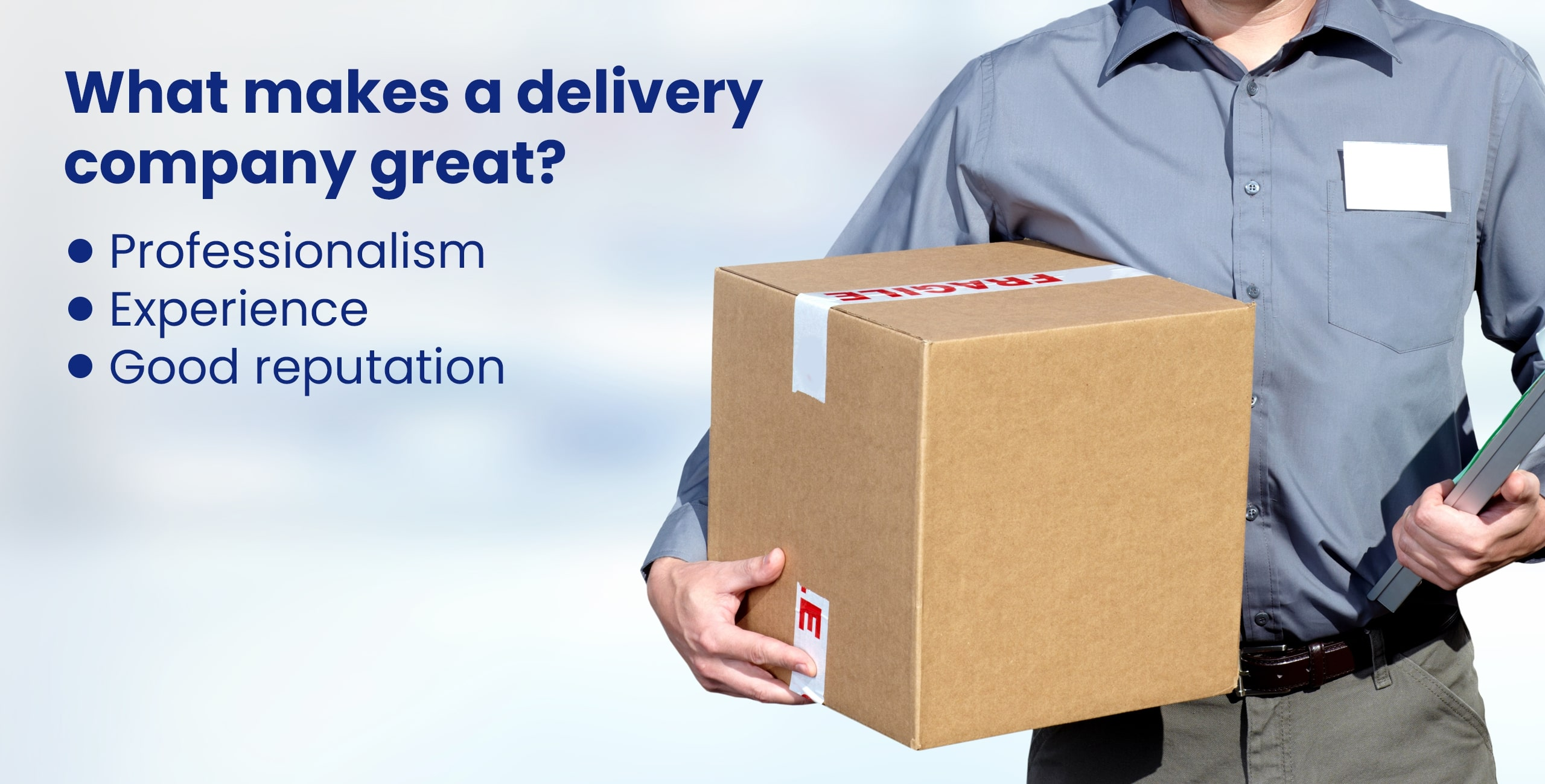 delivery man with small parcel in hands