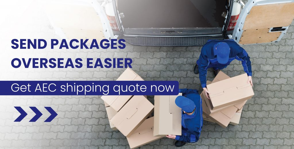couriers loading delivery bus with packages